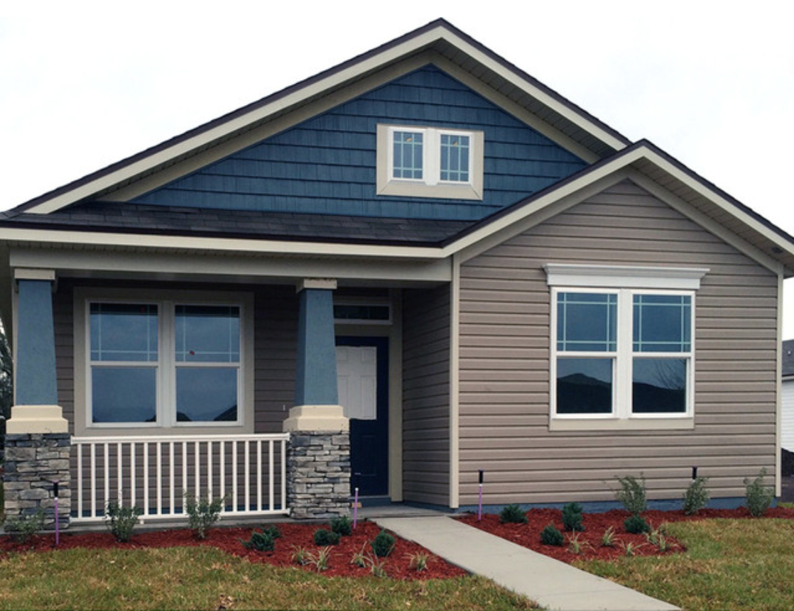 Kaycan Vinyl Siding Clay With Cabot Blue Shakes And Cream Trims Grey Stone