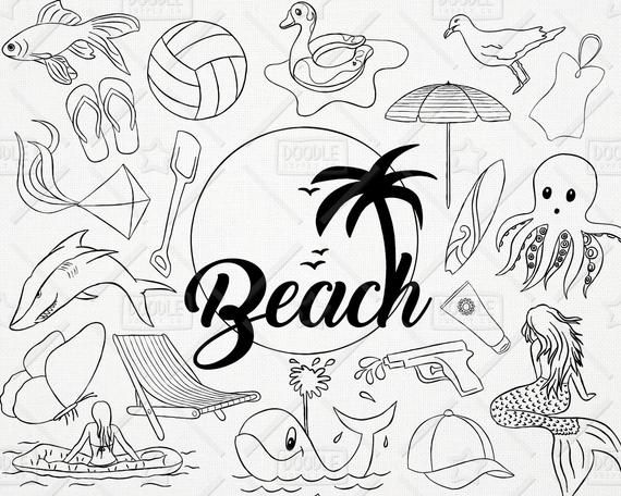 Doodle Beach Clipart Vector Pack Summer Clipart Vacation Clipart