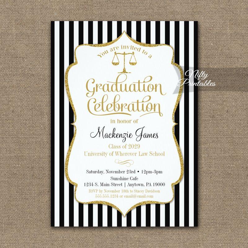 Law School Graduation Party Invitation Printed Pinterest Party