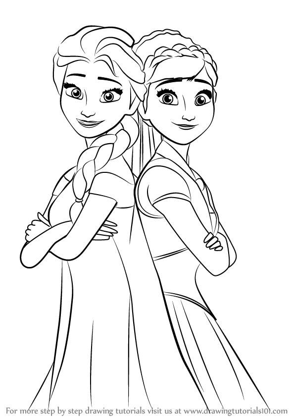How To Draw Elsa And Anna From Frozen Fever Drawingtutorials101 Com How To Draw Elsa Frozen Drawings Disney Princess Coloring Pages