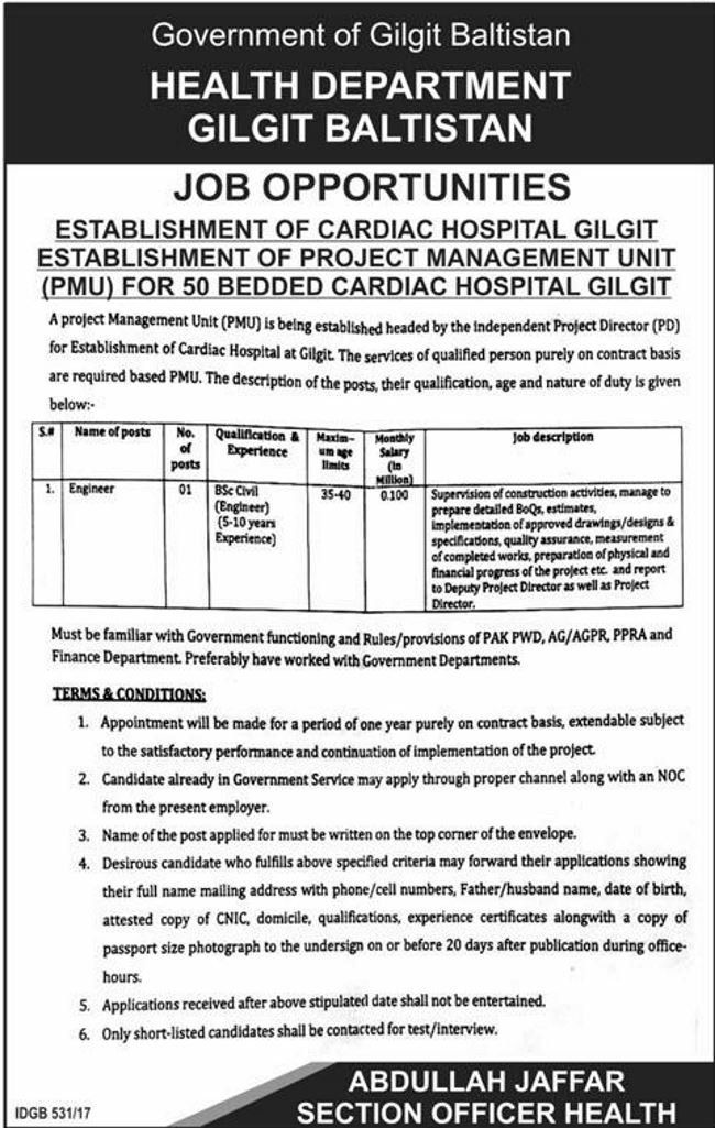 Health Department Jobs  In Gilgit Baltistan For Engineer Http