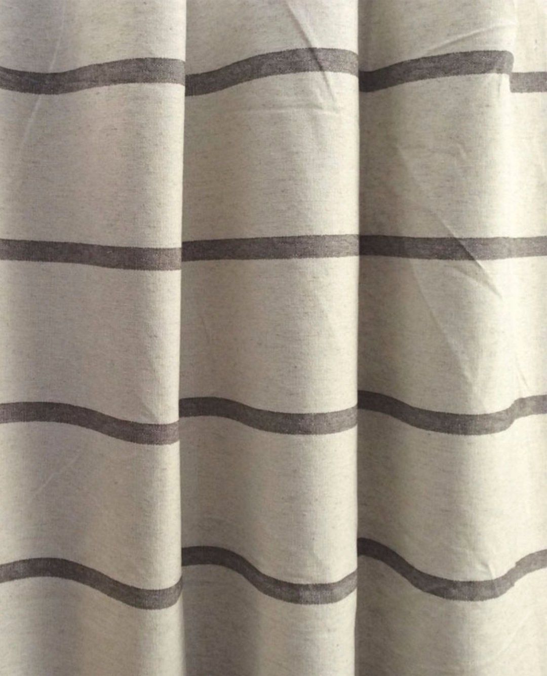 Modern Farmhouse Shower Curtain Stripe Brown Stripe Brown Ticking Striped Fabric Shower Curtain Shower Curtain Extra