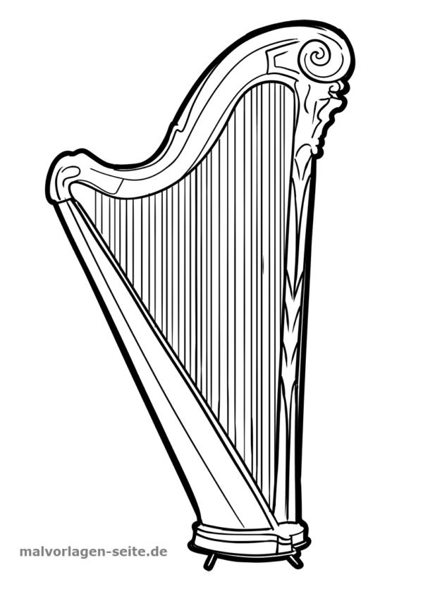 Malvorlage Harfe | Harfe, Ausmalbilder zum ausdrucken und Ausmalbilder