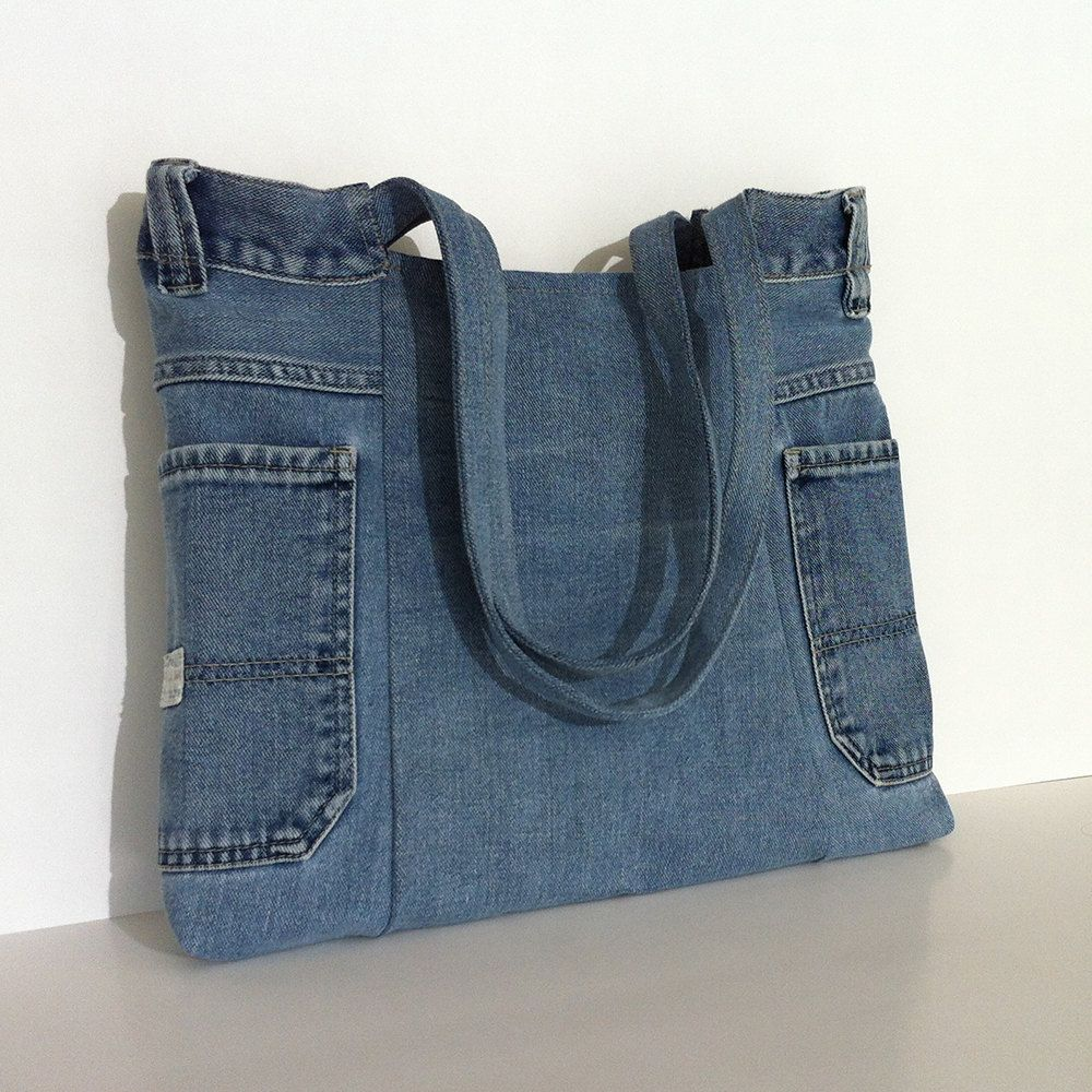 recycled jean tote bag vegan denim handbag eco. Black Bedroom Furniture Sets. Home Design Ideas