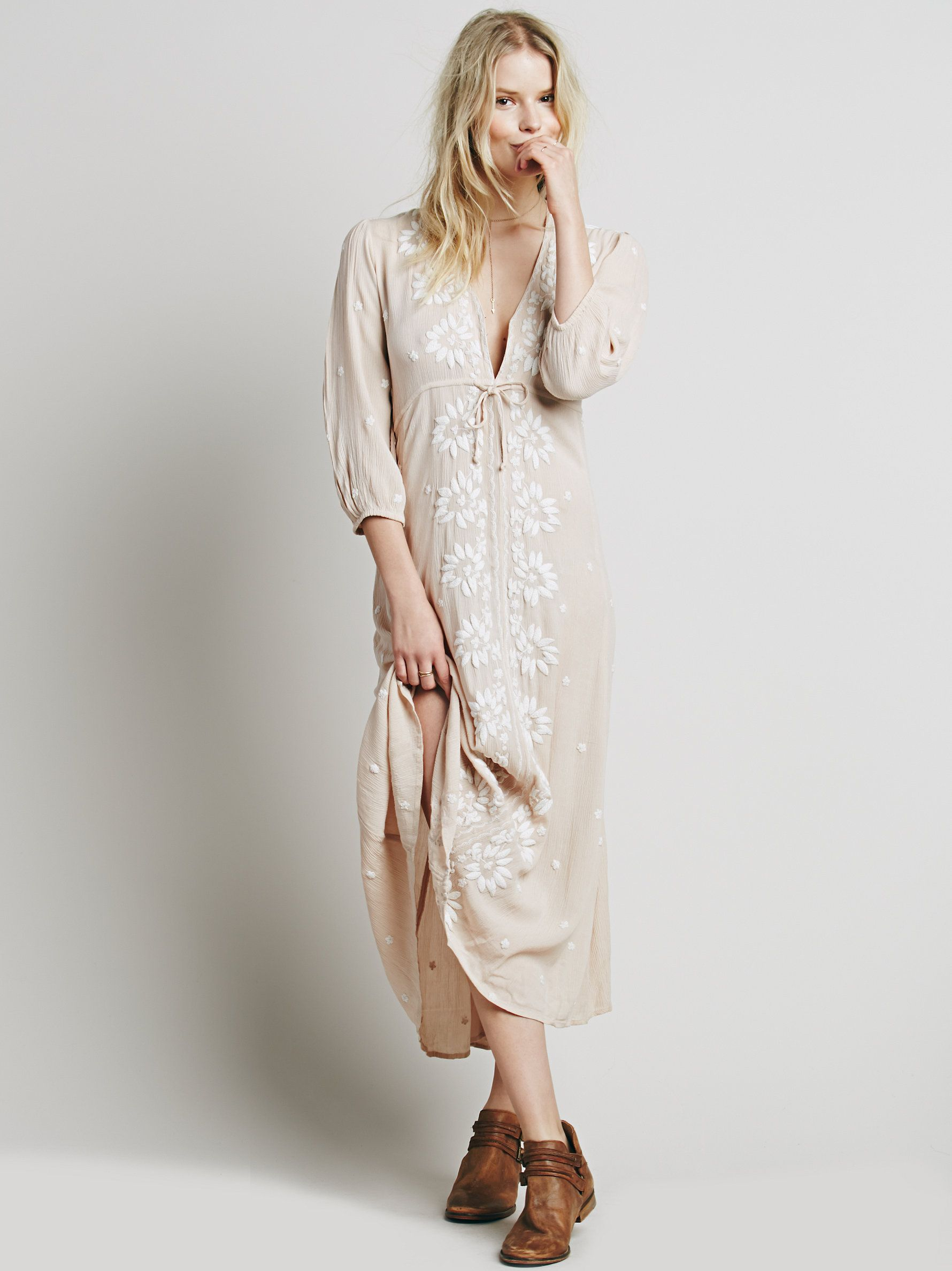 Free people embroidered maxi dress