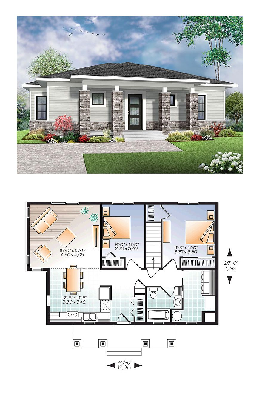 Modern house plan 76437 total living area 1007 sq ft for One floor modern house