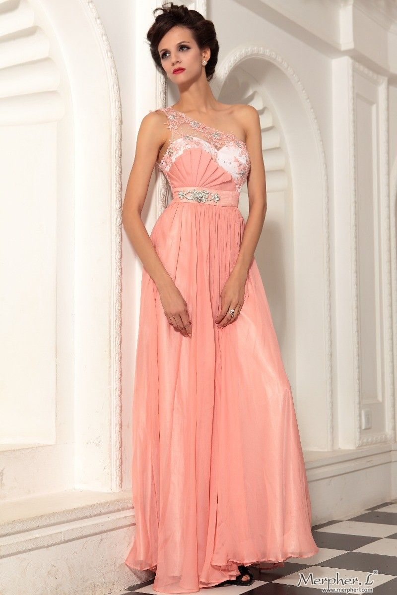 Peach prom dress home peach one shoulder beading chiffon prom