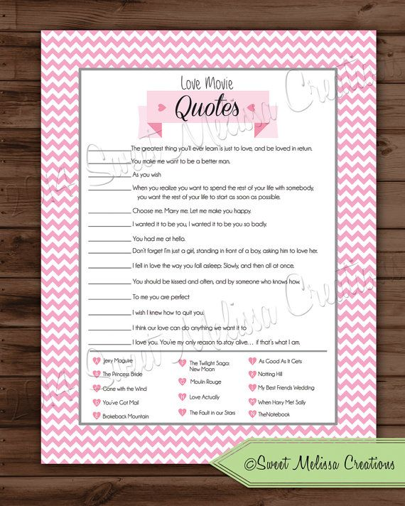 Love movie quotes bridal shower game by sweetmelissacreation love movie quotes bridal shower game by sweetmelissacreation stopboris Images