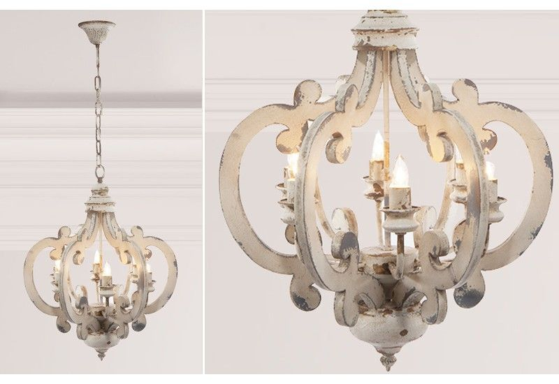 Distressed White Wood Chandelier Pendant Light French Country