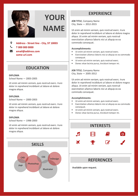 Resume Layout Microsoft Word Fitzroy Free Resume Template Microsoft Word  Red Layout  Classic .