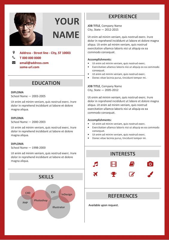 Resume Layout Microsoft Word Glamorous Fitzroy Free Resume Template Microsoft Word  Red Layout  Classic .