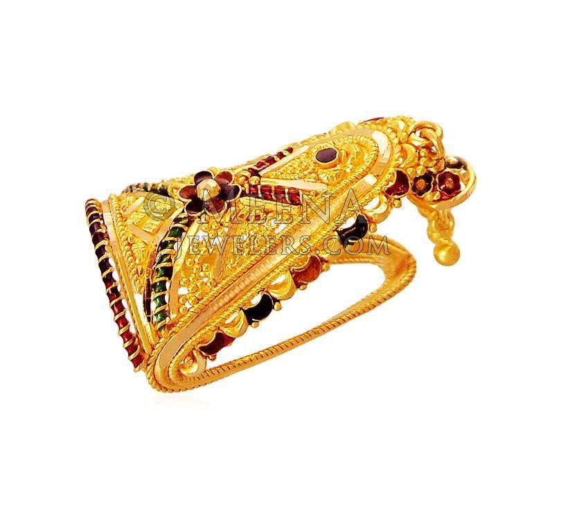 La s Gold Ring 22K Traditional Meenakari Ring