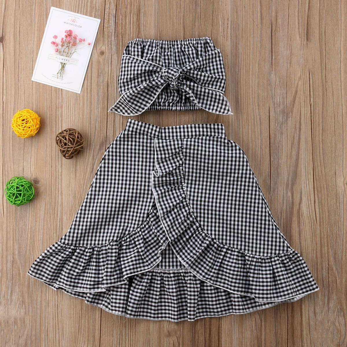 Trendy Gingham Printed Outfit Strapless Top With Bow And