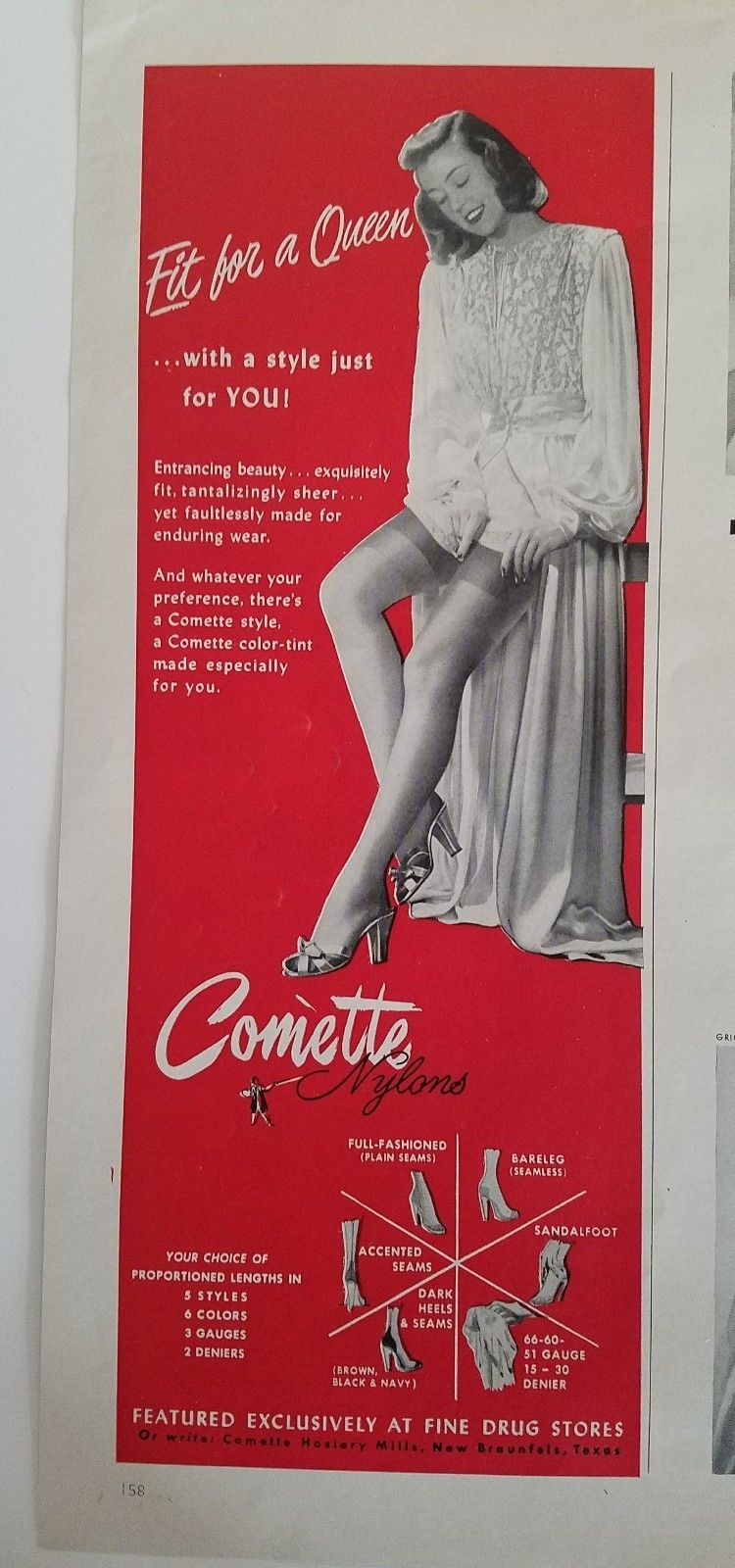 7b90ce9c9 1952 WOMEN S COMETTE thigh-high nylon Hosiery stockings fit for Queen ad -   9.99. For sale by mirluck Vintage Magazine advertisement measuring 5.5 by  13 ...