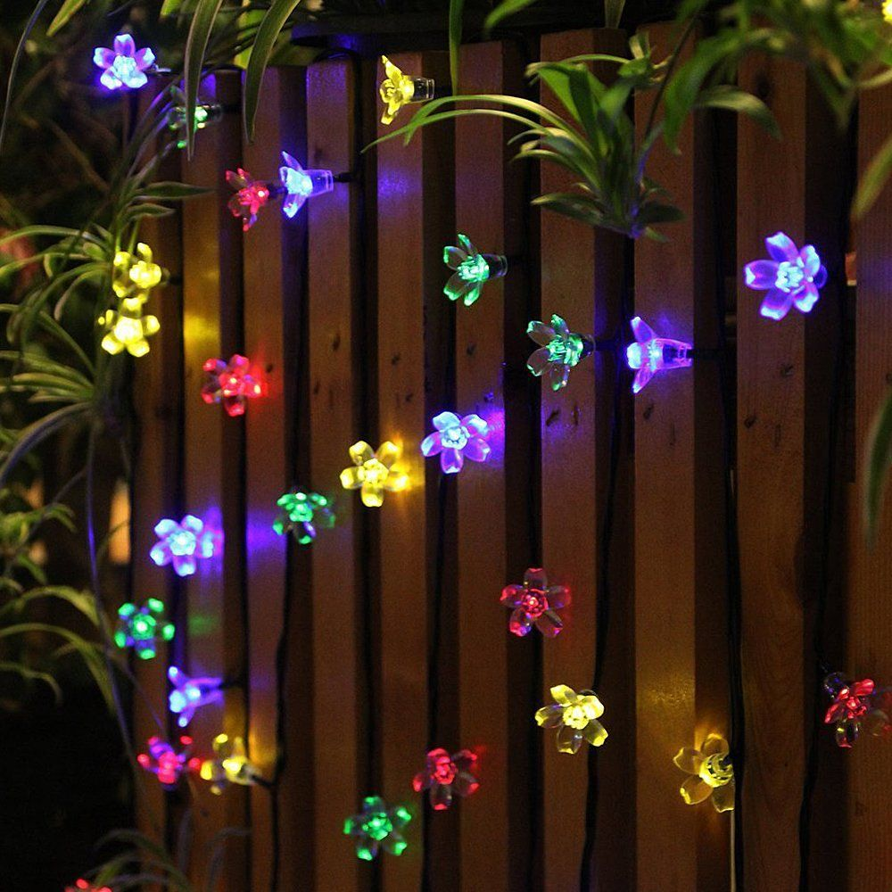 Attirant 50 LED Solar Garden Lights Outdoor Solar String Lights Flower Bulbs Outdoor  Christmas Decorations Multi Color Led String Lights Waterproof Party Lights  ...