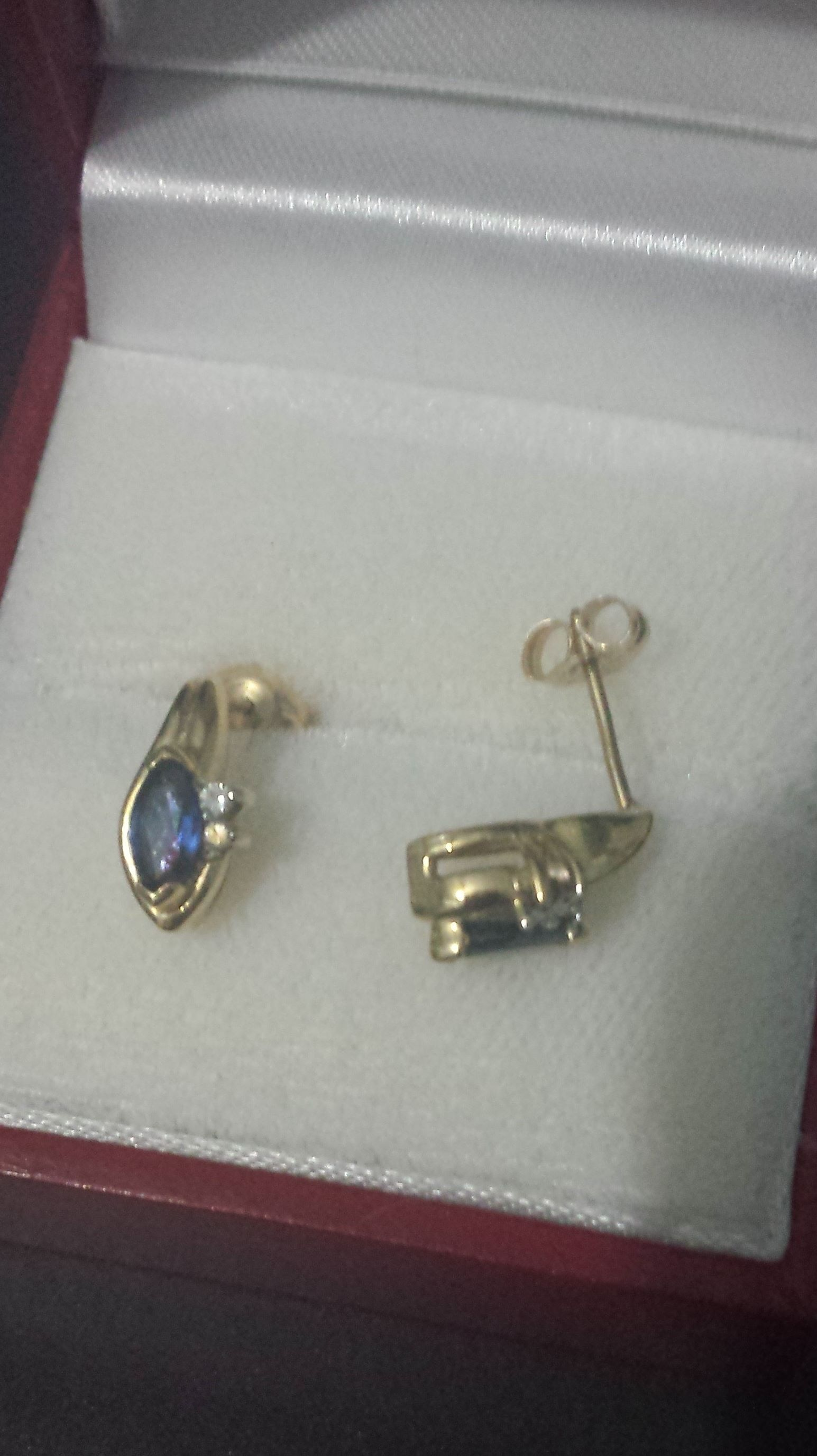 Blue sapphire and diamond 14K gold earrings