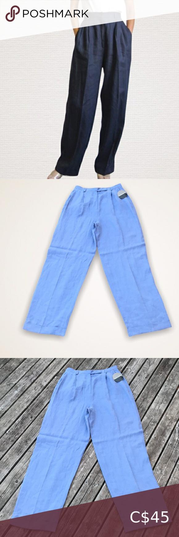 🆕VALERIE STEVENS Blue Wide Leg Linen Pants