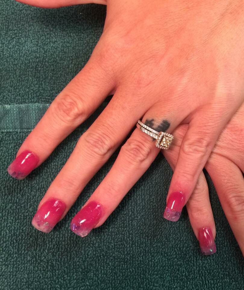 Fuchsia acrylic with clear tips and flakes | My Nail Creations ...