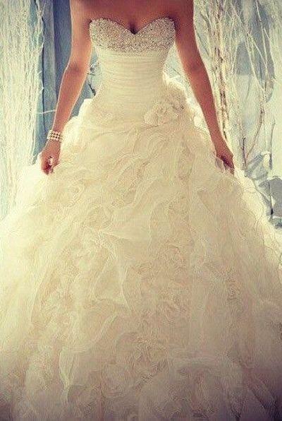 bride puffy perfection strapless wedding dress | wedding dresses ...