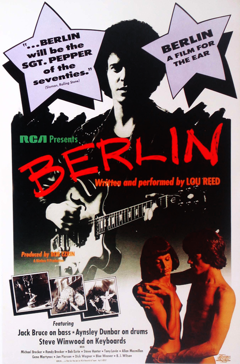 Movie style poster advertising Lou Reed's album Berlin (1973)
