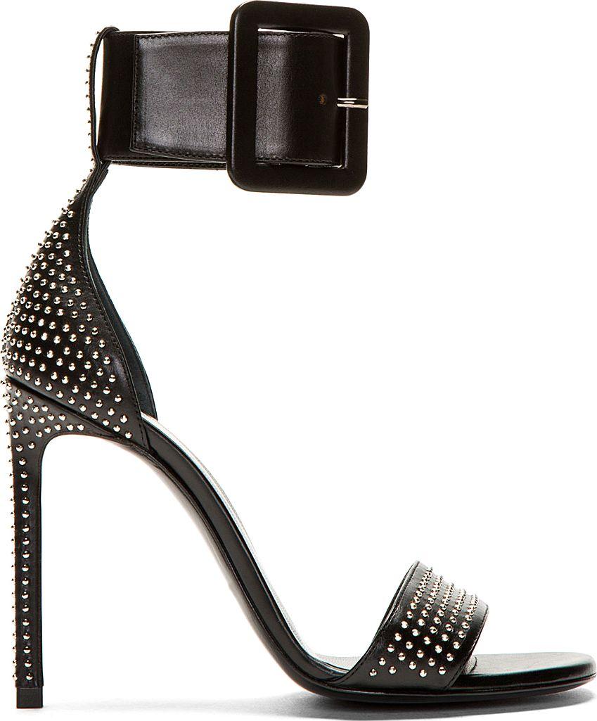 7098055b13d Saint Laurent - Black Leather Studded Jane Sandals | oh. My. Gosh ...