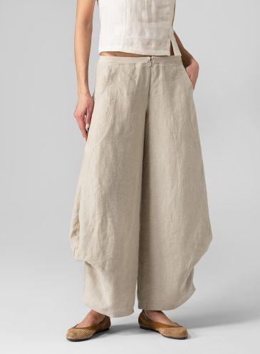 5c8137f96ba22 Linen Flared Leg Pants Oat