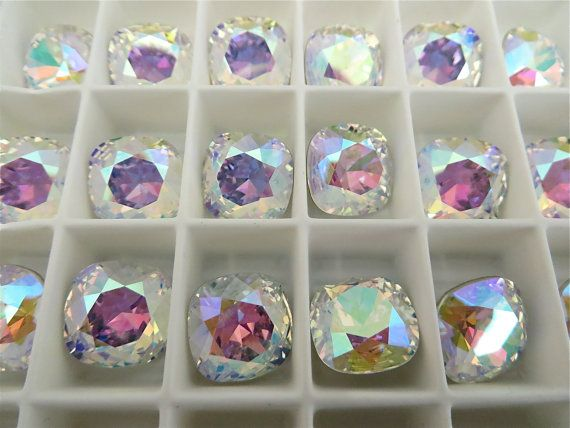1 Crystal AB Swarovski Crystal Square Cushion Cut  Stone 4470 12mm