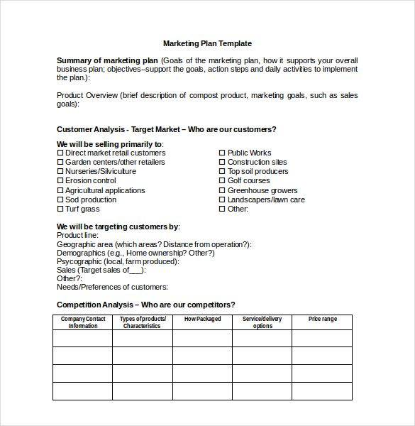 Marketing Stretegy  Marketing Plan Template