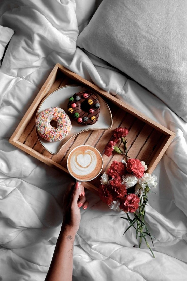 #Coffee #Donut #Coffeeanddonuts #flowers #onthebed #thewickedsoul #flatlay #creativeflatlays #thewickedsoul