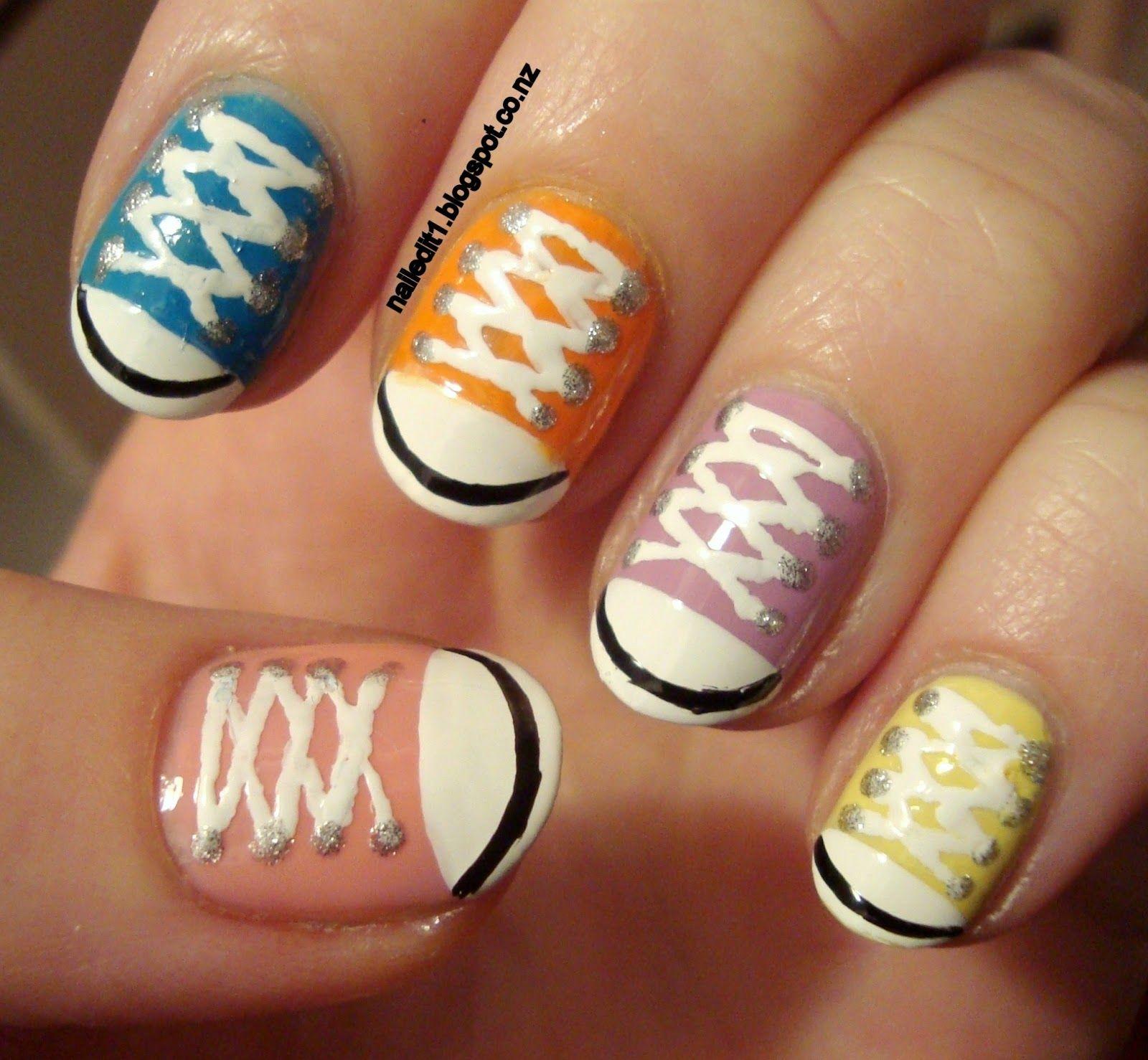 Nailed it nz nail art for short nails chuck taylorsshoe nails