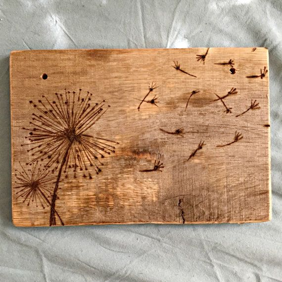 Wood Burned Dandelion Ornament Sign By Bisonboutique On