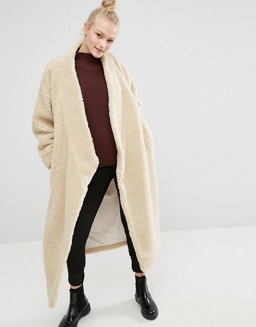 Monki Oversized Shearling Maxi Coat - $143.00 | wants | apparel ...