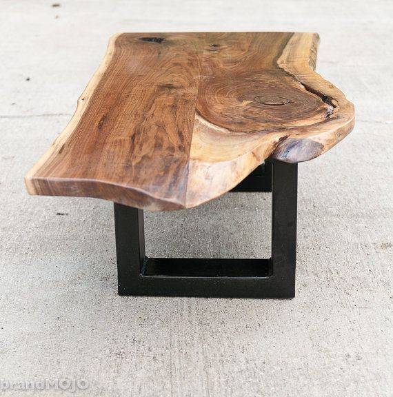 Fabricated Steel Coffee Table: Live Edge Walnut Coffee Table Steel Base Nakashima Style