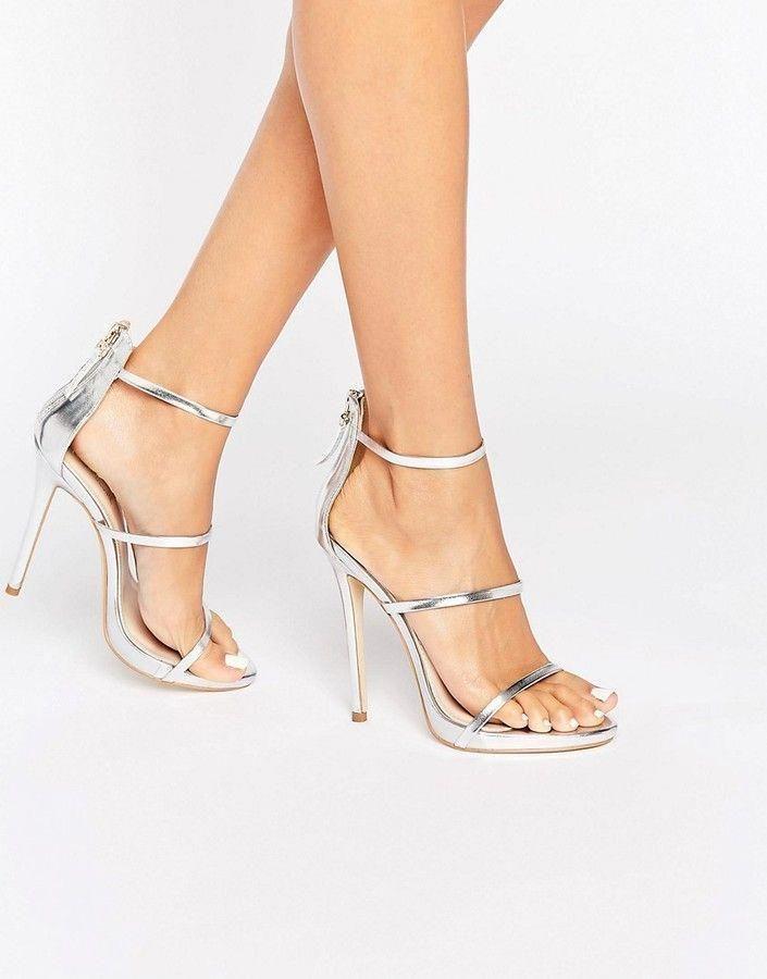 7f7729d6de07ea Public Desire Aisha Strappy Silver Heeled Sandals  YourPinterestLikes  Strappy Sandals Heels