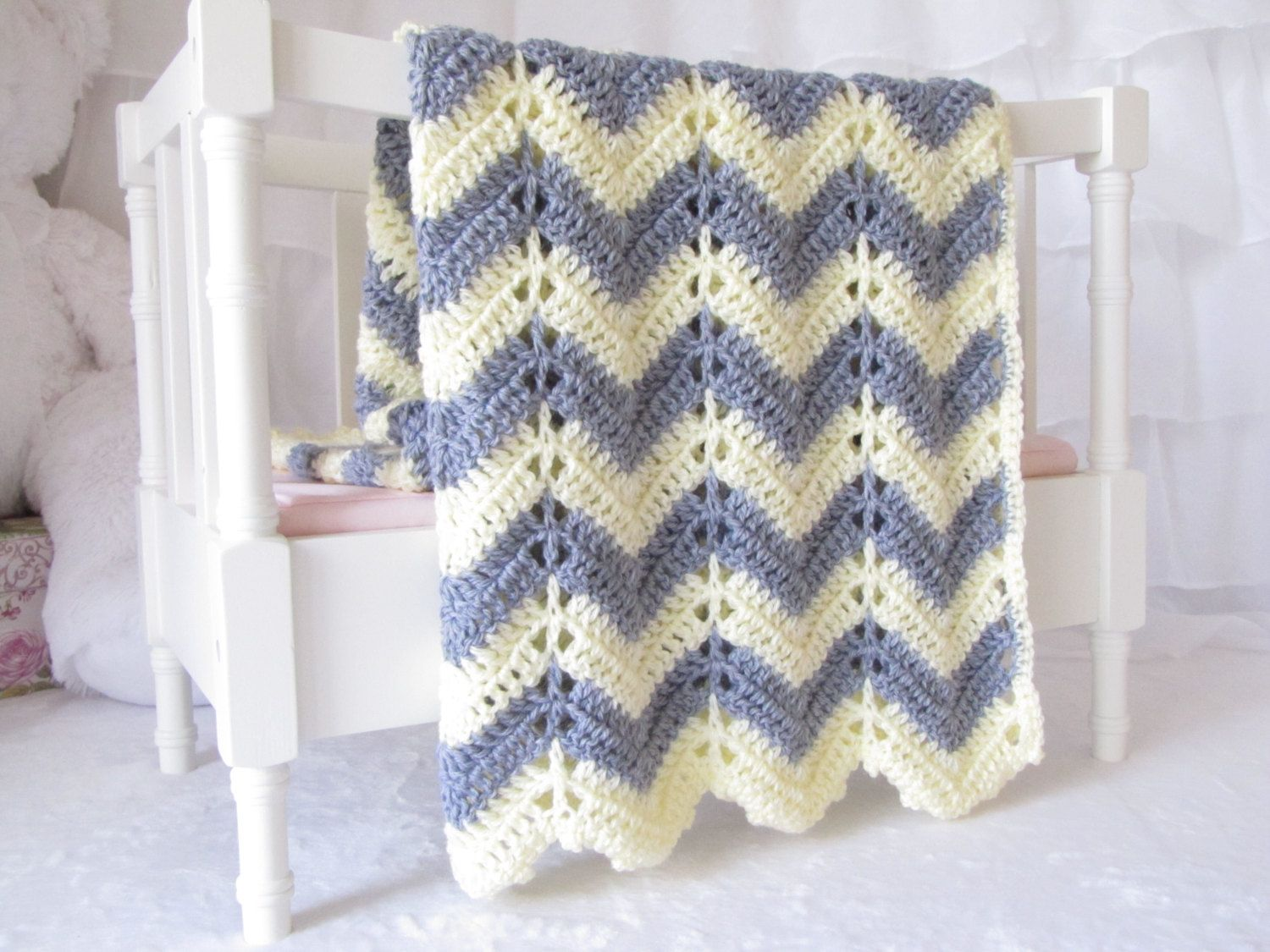Grey & Yellow Chevron - Crochet baby blanket - creamy soft grey and ...