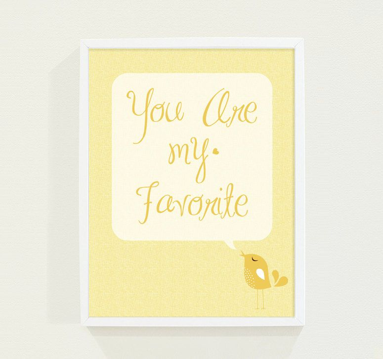 Baby Nursery Wall Art in Mustard Yellow - Bird Typography Poster ...