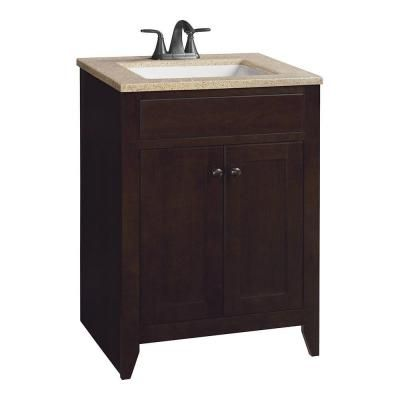 Home Depot Bathroom Vanities And Cabinets | Glacier Bay Modular 24 5 In W Bath Vanity In Java With Solid