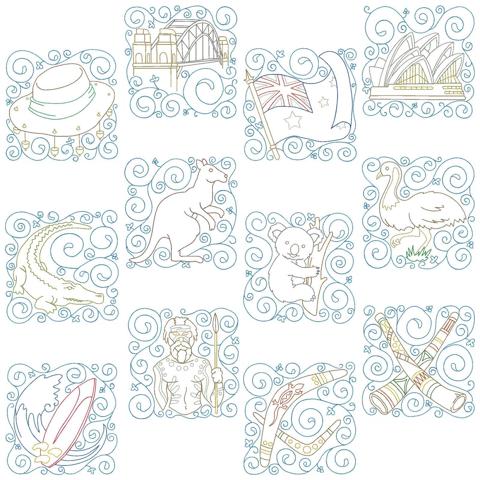 12 x 2 sizes Machine Embroidery Patterns AUSTRALIAN BLOCKS