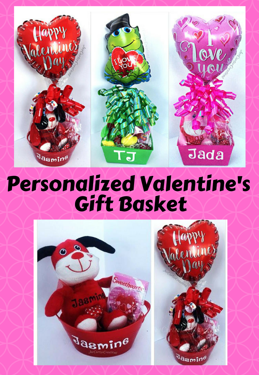 Cute Personalized Valentine S Day Gift Basket For Kids Ad Pink