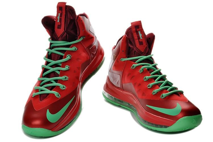 lebron james shoes | Nike LeBron James 10 (X) Christmas Ruby Red Green Shoes