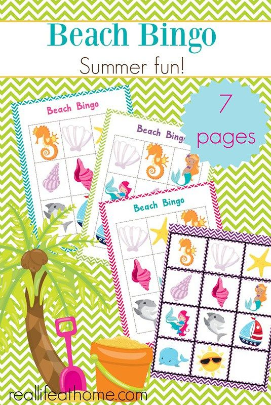 Fun Summer Games Free Printable Beach Bingo Cards With Images