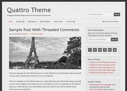 The vintage look and modern design of the mobile responsive Quattro theme sets an instantly classic tone for all of your content online.