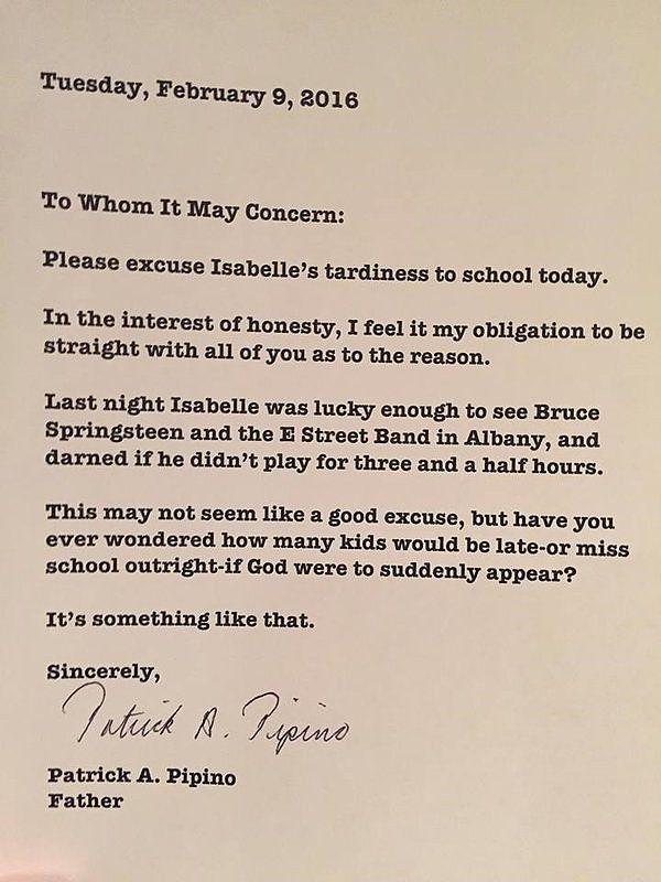 Dad Writes Bruce Springsteen School Excuse Note | POPSUGAR Moms