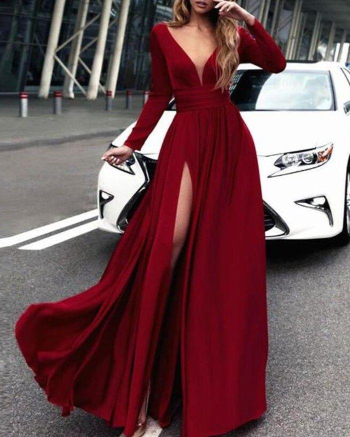 Buy burgundy satin deep v-neck slit prom dress with long sleeves pm1385 online at JJsprom.com