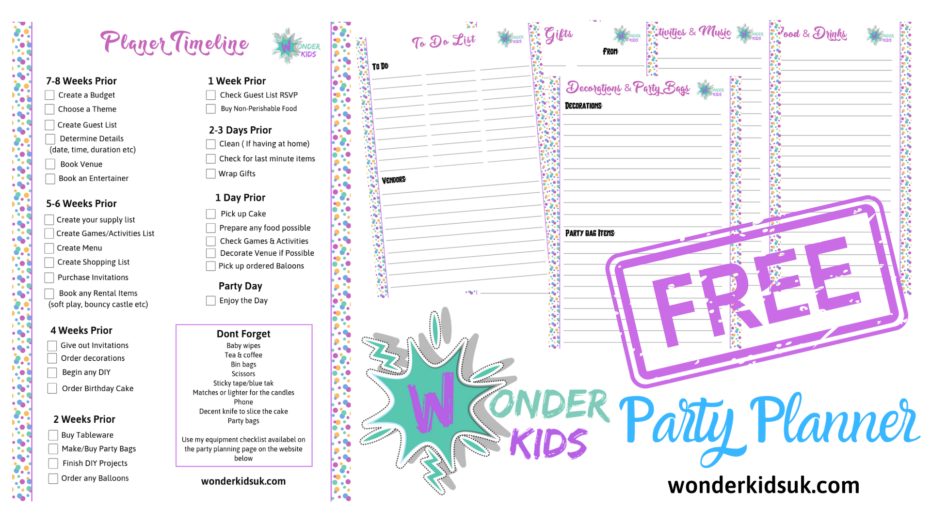 Click Here For Your Free Party Planner From Wonder Kids It S Easy