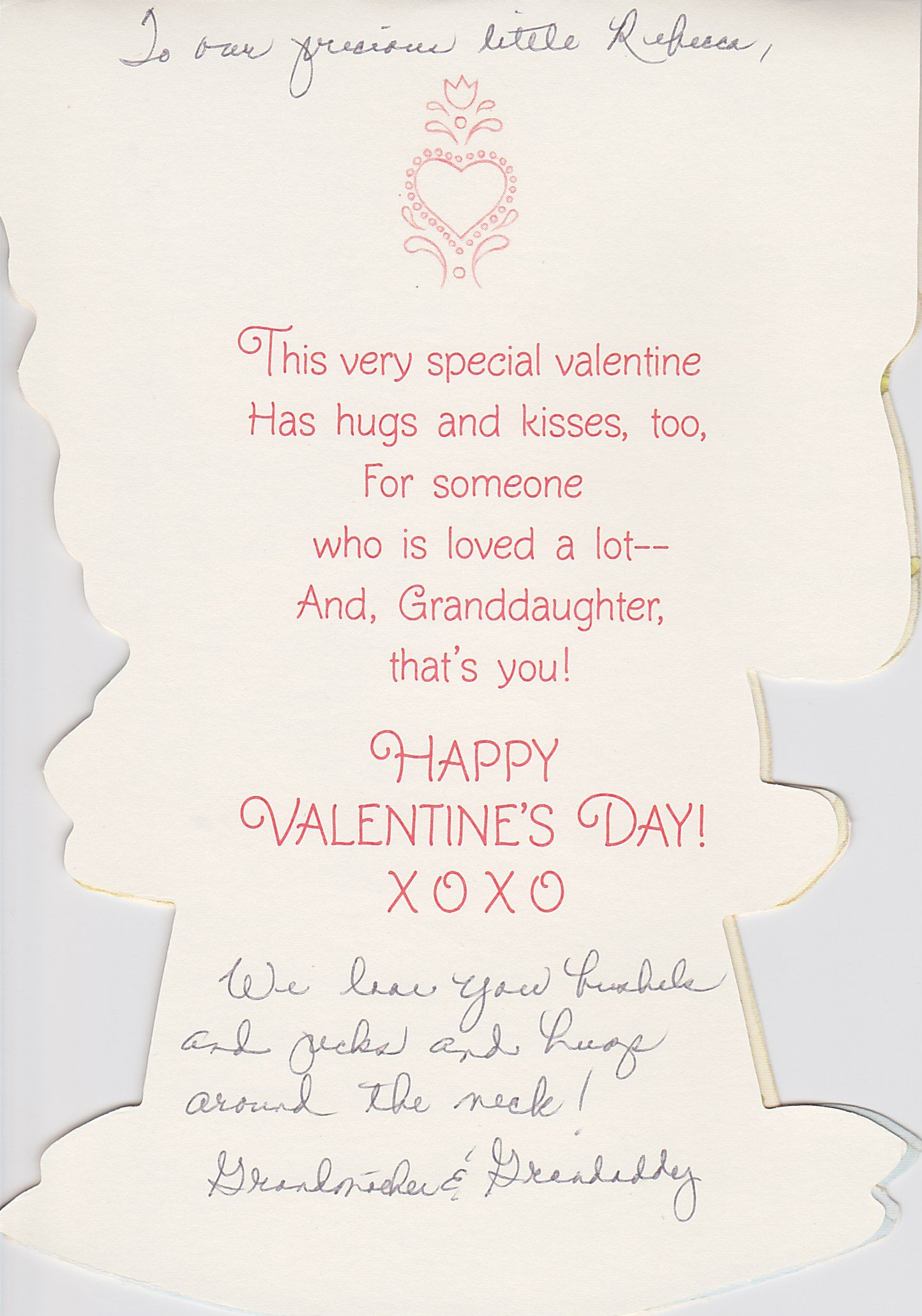 A Valentines Day card to Rebecca from Mimi and Bran Bran II
