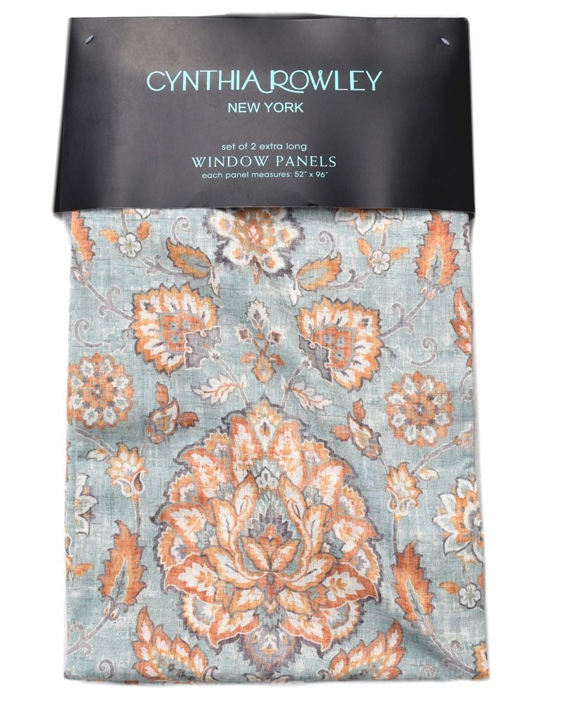 Cynthia Rowley Jacobean Floral Window Curtain Panels Linen Pair Orange Turquoise Cynthiarowley Modern Window Curtains Window Panels Orange Grey