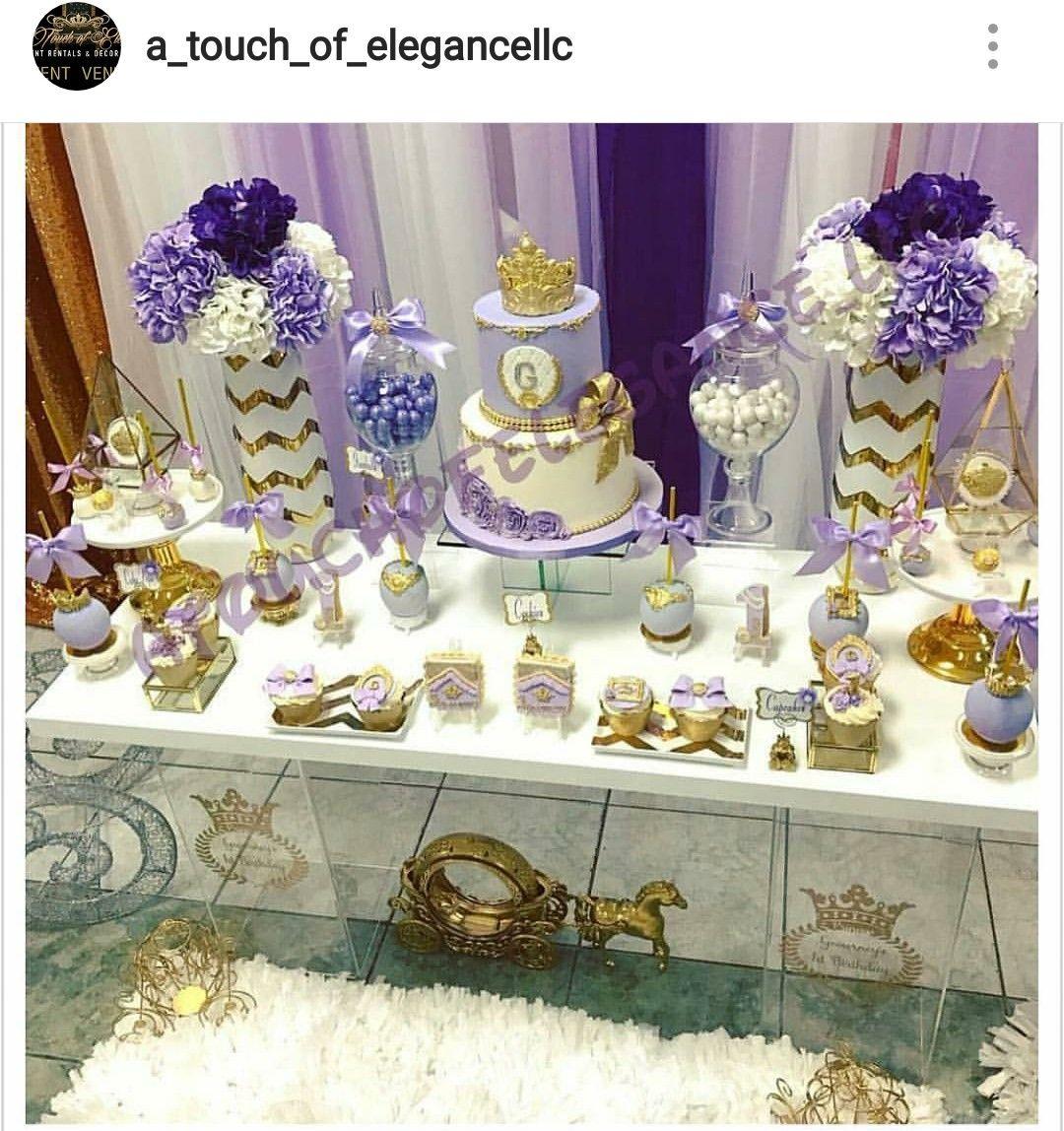 purple gold and white baby shower dessert table and decor purple and gold theme baby shower. Black Bedroom Furniture Sets. Home Design Ideas