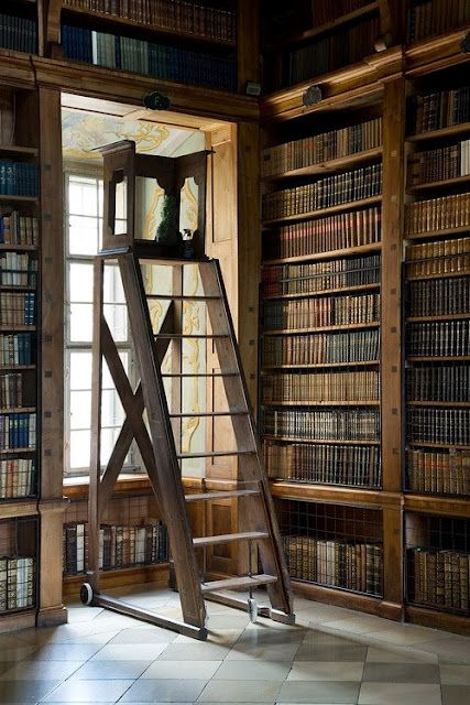 A Stable Library Ladder Makes Easy Work Of Reaching Books On High