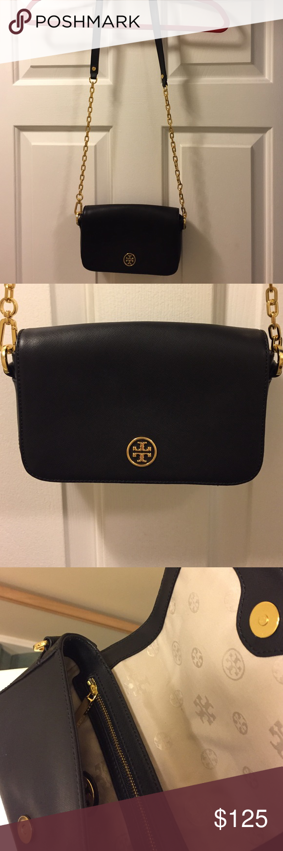Tory Burch Shoulder Bag This bag has barely been used. It is in excellent condition. Still has original dust bag. Black shoulder bag with gold chain strap. Tory Burch Bags Shoulder Bags